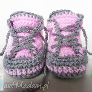 Buciki szydełkowe trampki różowe, buciki,