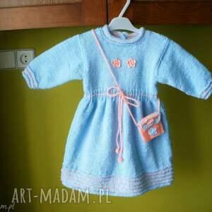 sukienka błękitna z torebeczką - rękodzieło, włóczka