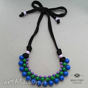 naszyjnik z korali kobaltowych zielonych fioletowych - korale, kolorowe, akryl, sznurek