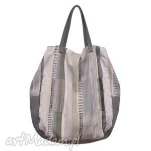 na ramię 06-0009 kremowa torba worek xxl zakupy swallow maxi, duże, torebki
