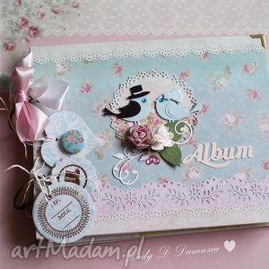 albumy album na fotografie ślubne z ptaszkami w stylu vintage, album