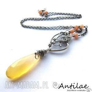 ręcznie zrobione naszyjniki machungwa - chalcedon, kamień słoneczny, srebro