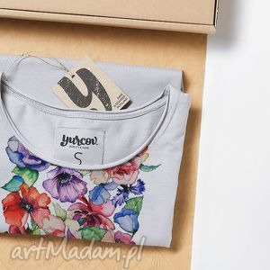 flowers luźna prosta koszulka, tshirt, kwiaty, nadruk ubrania