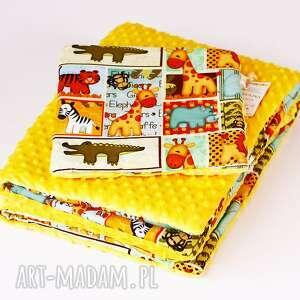 zestaw niemowlaka safari żółty, kocyk, zestaw, poduszka, safari, zwierzątka dla
