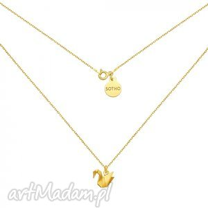 naszyjniki złoty naszyjnik z łabędziem origami, modny, naszyjnik, srebro, zawieszka