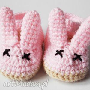 ubranka szydełkowe balerinki z uszami różowe, balerinki, szydełkowe, króliczki