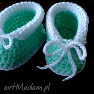 seledynowe buciki niemowlęce szydełkowe uniwersalne, niemowlęce, szydełkowe, wełniane