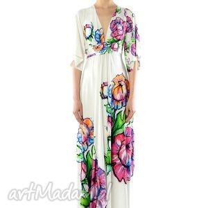 sukienki magdalena maxi flower - sukienka, lato, wiosna, długa, biała, kwiat ubrania