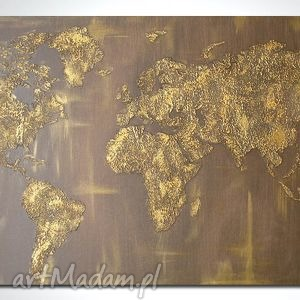 obraz 152x84 - mapa świata 3d 10 ręcznie malowana, mapa, złota, obraz