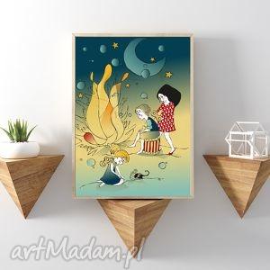 grafika ognisko nocą a4, dziecko, plakat, ilustracja, dekoracja, dziewczynka