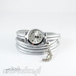 zegarek, bransoletka - srebrny księżyc, bransoletka, rzemienie, owijany