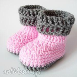 buciki szydełkowe różowe, buciki, szydełkowe, botki