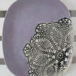 lawendowy z koronką, talerz, lawendowy, fioletowy, ceramiczny, koronkowa, patera dom