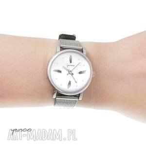 zegarki zegarek, bransoletka - szare piórka mały, piórko