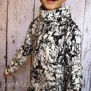 ubranka bluza z długim rękawem i kominem - kleksy, bluzka, bluzeczka, dla