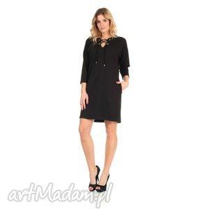 sukienki 46-sukienka sznurowany dekolt,czarna,rękaw 3 4, lalu, sukienka, dzianina