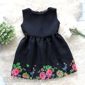 czarna sukienka góralska folkowa dziecięca, sukienka, folkowa, folk