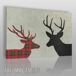 obraz na płótnie - jelenie krata czerń 120x80 cm 46201 , jelenie, rogi