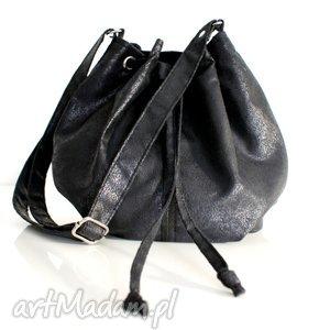 na ramię mini sak czerń troczek vege, vegan, torba, worek, torebka torebki