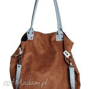 na ramię worek brown blue, handmade, brąz, błękit, ekoskóra, pod choinkę prezent