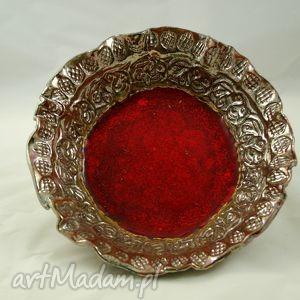 patera złoto i ogień, ceramika, miska, handmade, prezent, wnętrze, złoto