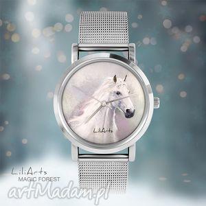 zegarek, bransoletka - biały koń magic forest, bransoletka, koń, metalowa