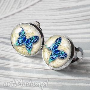 klipsy z motylkami w szkle, klipsy, małe, motyl, owad, niebieski, romantyczne