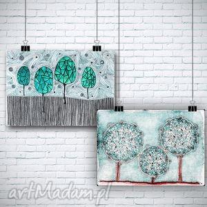 Zestaw 2 prac, drzewa, drzewka, natura, widok, plakat