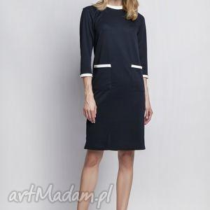 Sukienka, SUK103 granat, sukienka, minimalizm, kontrast, lamówki, prosta, chrzciny