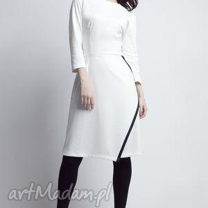 sukienki sukienka, suk116 ecru, kontrast, kopertowa, zakładana, biała, komunia, midi