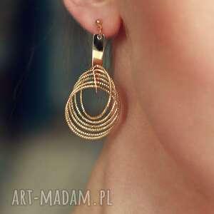 kolczyki golden rings vol2, złote, koła, geometryczne, wiszące, ruchliwe, glamour