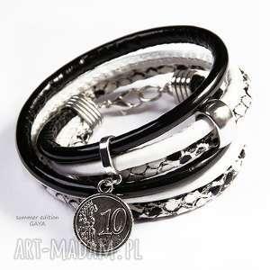 wyjątkowy prezent, dwa kolory, rzemień, podwójna, metal, posrebrzane, moneta
