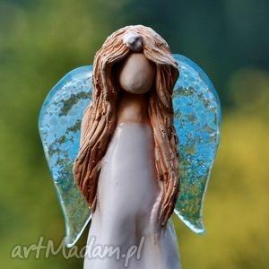 anioł ceramika i szkło biały, anioł, fusing, postać, figura, skrzydła