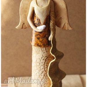 ceramika dama z szalem i ptaszkiem, ceramika, anioł