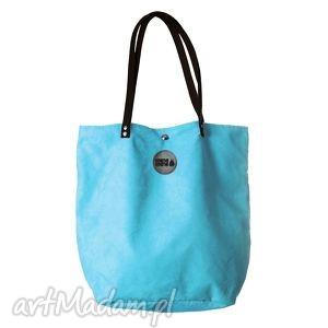 wyjątkowy prezent, torba mysza simple turkus, zakupy, alkantara, skóra, duża