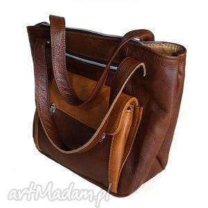 kasztanowo-karmelowa torba xxl, wielka, shopper, zakupy, skórzana, kasztan, karmel