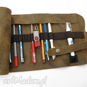 Prezent Piórnik skórzany duży, piórnik, skóra, skórzany, szyty, prezent, vintage