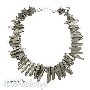 naszyjniki tytanowe sople, tytan, tytanowany, kryształ, nieregularny, srebrzysty