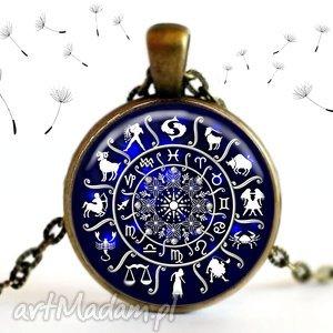 naszyjnik znaki zodiaku, długi, brąz, granatowy, unikat, inny, oryginalny, prezent na