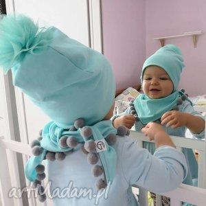 ubranka komplet czapka i chusta - mint tulle, czapka, chysta, apszka, pompony