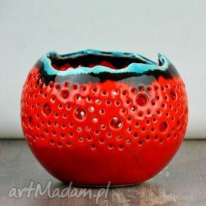 lampion ball czerwony z turkusem, lampa, lampion, tealight, świeca, kula, ażur dom