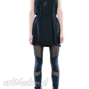 legginsy leggisny - futurystyczne tiulowo jerseyowe 2, czarne, wygodne, elastyczne