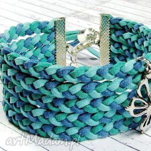 bransoletki zamszowa bransoletka pleciona trzy odcienie morza