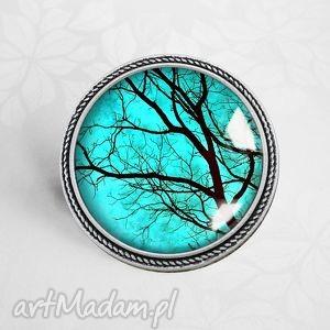 BROSZKA :: tajemnicze drzewa, pin, przypinka, drzewo, turkusowy, broszka, autorska
