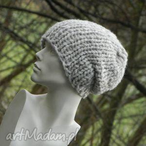 czapki beżowy grubas czapa, grubaśna, ścieg, melanżowa, czapka, krasnal, zimowa