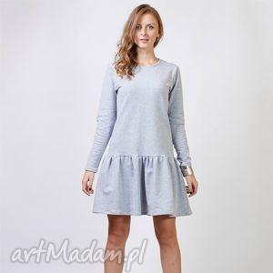 flounce sukienka dresowa z falbaną, sukienka, dresowa, dzianina, bawełna, falbana
