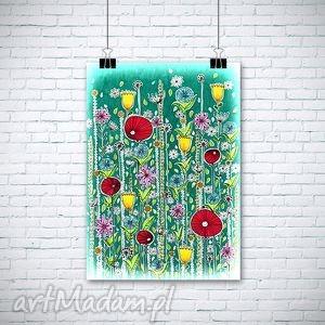 łąka, kwiaty, maki dom