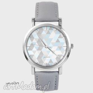 zegarki zegarek, bransoletka - geometric pastel szary, skórzany, skórzany