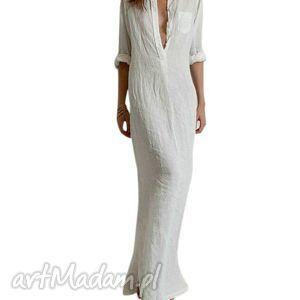 sukienki wspaniała letnia długa lnianasukienka, sukienka, len, bawełna, długa, czarna