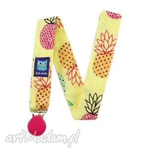 zawieszka do smoczka, wzór ananasy - zawieszka, tasiemka, klips, smoczek, ananasy